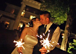 Bride and Groom with Sparklers at Round Hill (Ulysses Photography)