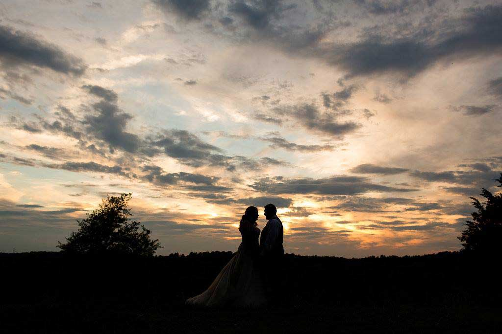 Sunset at Jesse and Bryant's summer wedding at FEAST at Round Hill