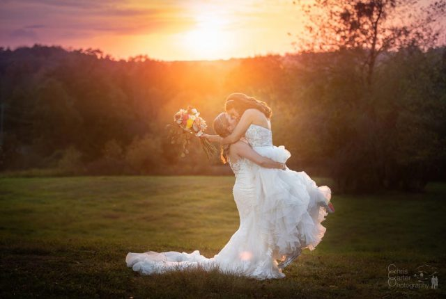 Two Brides Sunset Fall Hudson Valley Wedding (Chris Carter Photography)