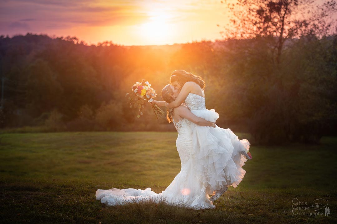 Two Brides Sunset Fall Hudson Valley Wedding