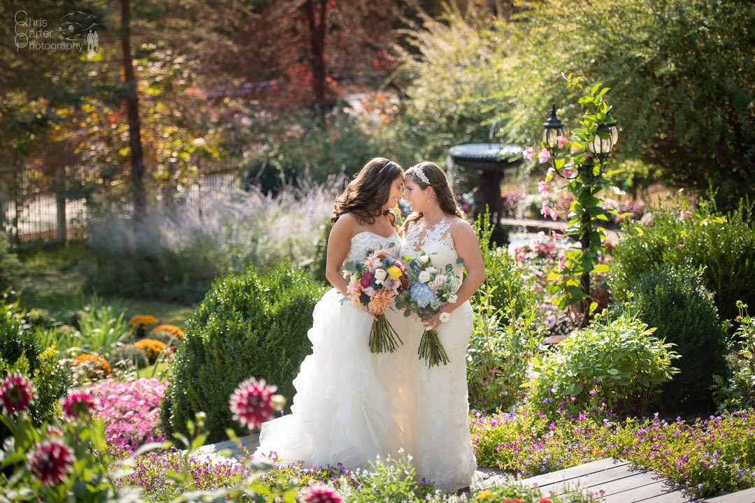 Two Brides in the Gardens at their Fall Hudson Valley Wedding